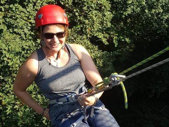 Lady abseiling