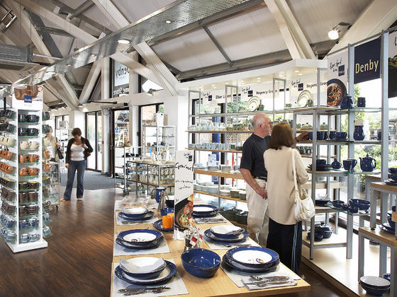 Factory shop at Denby pottery
