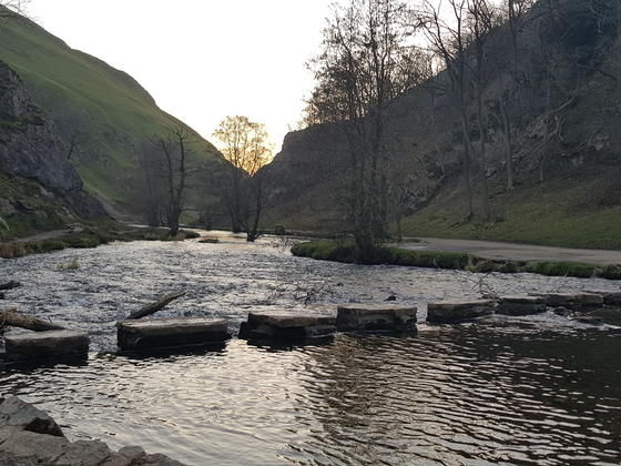 Stepping stones across the river at Dovedale