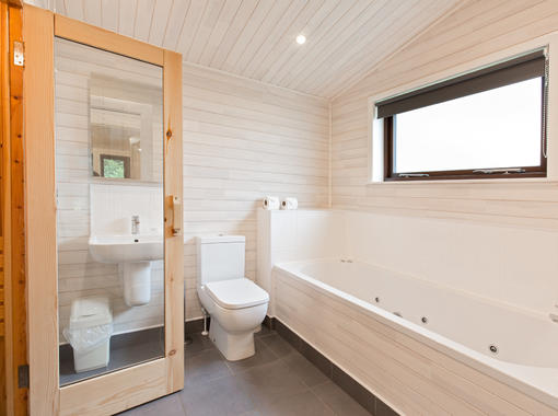 en suite bathroom with sauna and jacuzzi bath